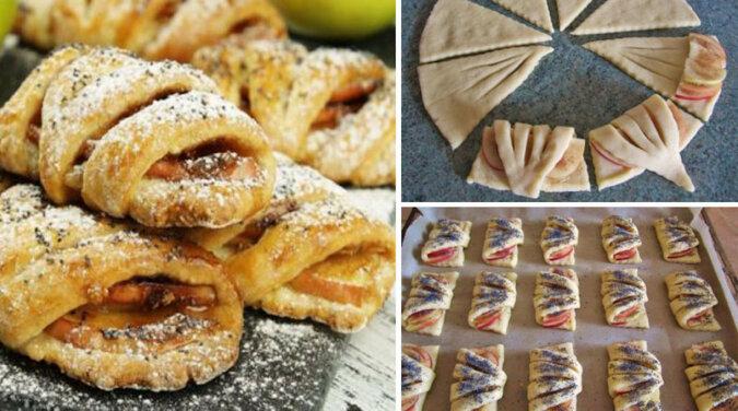 """Ciasteczka """"koperty"""" z jabłkami. Pyszny i delikatny wypiek z ciasta twarogowego"""