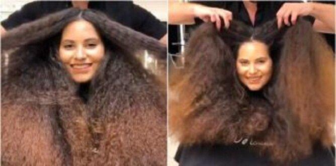 Dziewczyna z niegrzeczną stertą włosów wyszła z salonu efektowną pięknisią
