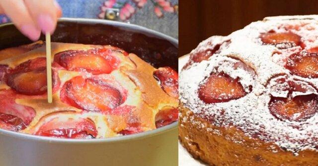 Ciasto na kefirze ze świeżymi śliwkami. Rozpływa się w ustach