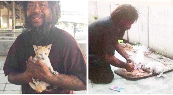 Bezdomny mężczyzna codziennie karmi uliczne koty, mimo że sam czasami głoduje