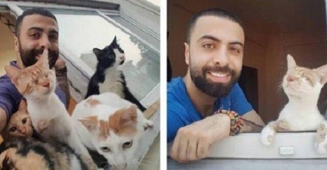Ten mężczyzna uratował dziewięć kotów, a teraz przychodzą do niego w nocy aby mu podziękować