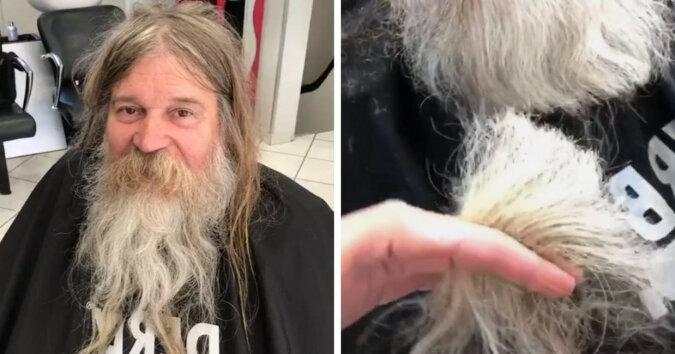 Bezdomny przyszedł do barbera, który zafundował mu metamorfozę. Okazało się, że pod włosami i brodą chowa się przystojny mężczyzna