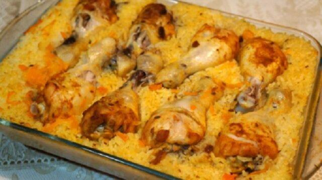 Pilaw w piekarniku z udkami z kurczaka. Pycha