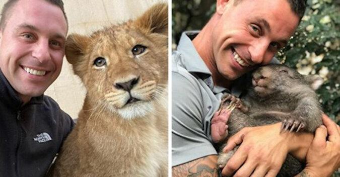 Pracownik Zoo jest bardzo szczęśliwy, że może się przytulać do wszystkich tych zwierząt