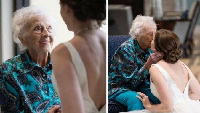 Panna młoda potajemnie poleciała odwiedzić babcię w sukni ślubnej. Oto jej reakcja