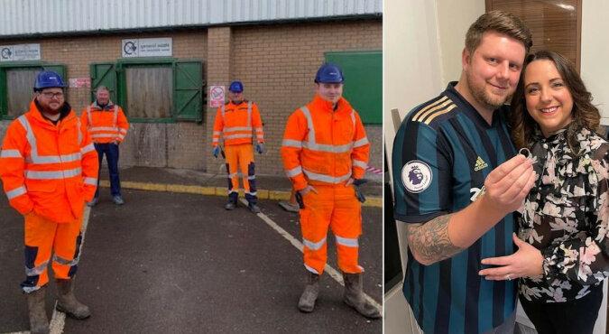 Pracownicy zajmujący się recyklingiem odpadów pomogli mężczyźnie znaleźć obrączkę