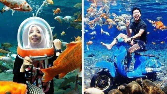 Wiejski staw w Indonezji stał się podwodnym miejscem dla selfie