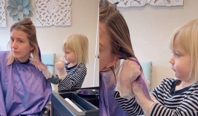 Trzyletnia córka ufarbowała włosy swojej mamy. Rezultat jest znacznie lepszy niż mogłoby się wydawać