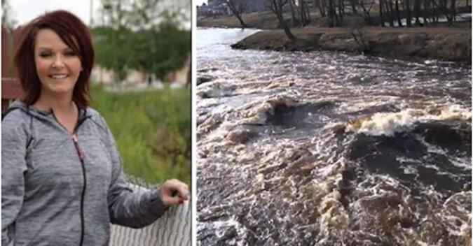 Kobieta wyciągnęła ze wzburzonej wody wózek z dwulatkiem