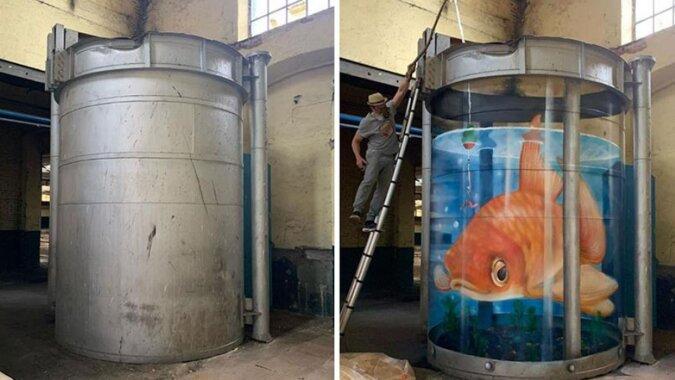 Francuski artysta maluje trójwymiarowe graffiti, widok nie jest dla osób przewrazliwionych