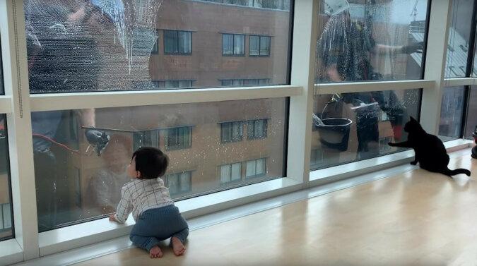 Reakcja dziecka na mycie okien dotknęła użytkowników Internetu. Wideo